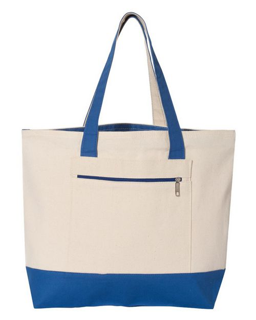 Q-Tees Q1300 18.6L Canvas Zipper Tote