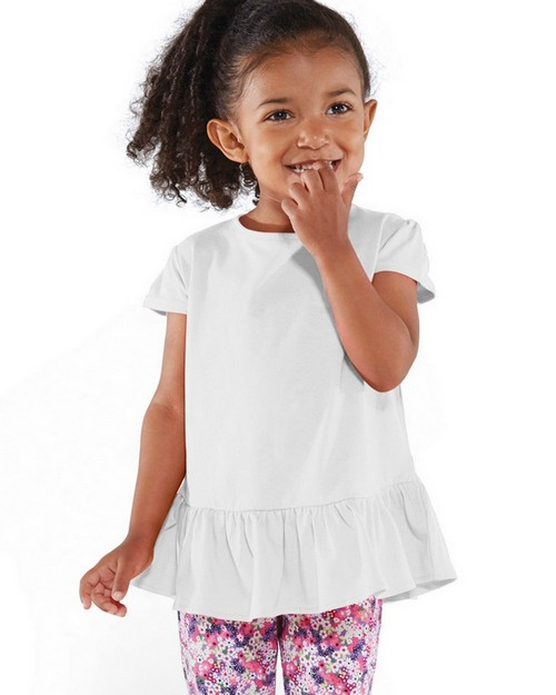 Rabbit Skins 3327 Toddler Fine Jersey Ruffle T-Shirt