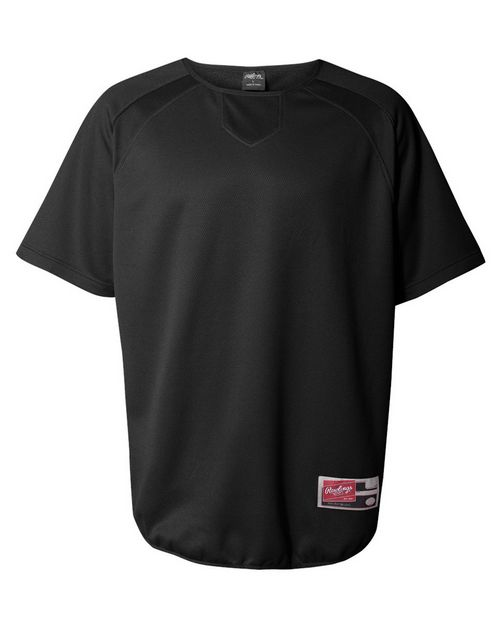 Rawlings 0705 Mens Short Sleeve Flatback Mesh Fleece Pullover