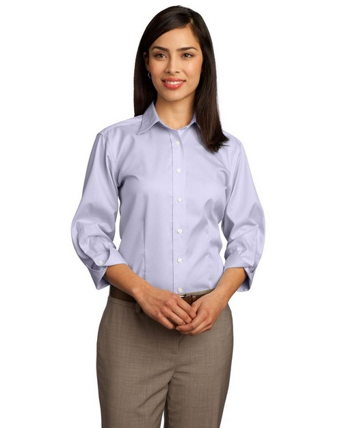 Red House RH61 Ladies 3/4-Sleeve Dobby Non-Iron Button-Down Shirt