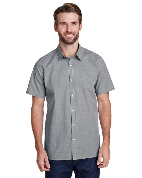 Artisan Collection RP221 Mens Microcheck Gingham Short-Sleeve Cotton Shirt