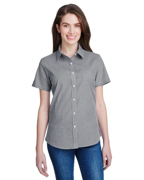 Artisan Collection RP321 Ladies Microcheck Gingham Short-Sleeve Cotton Shirt