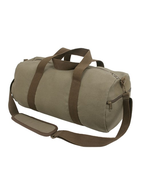 Rothco 2227 Two-Tone Canvas Shoulder Duffle Bag - Vintage Olive with Brown Straps
