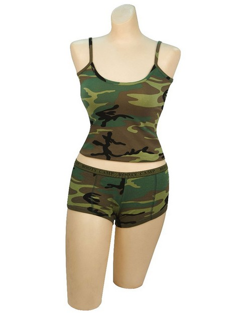 Rothco 3476 Woodland Camo Camp Booty Shorts & Tank Top