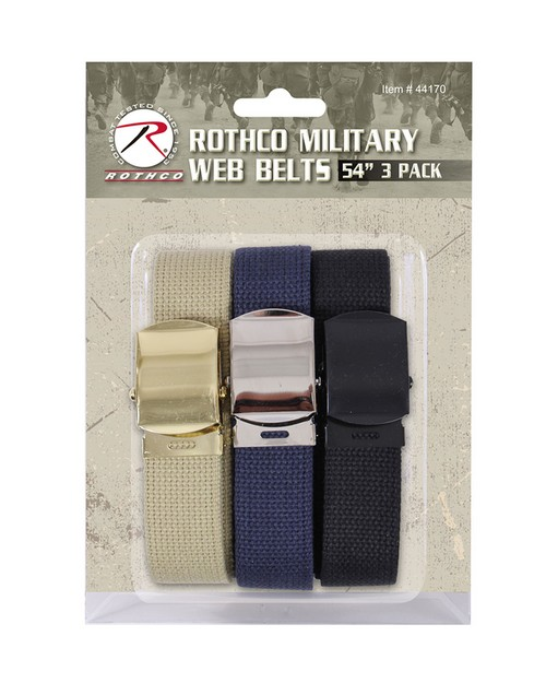 Rothco 44170 54 Inch Military Web Belts in 3 Pack
