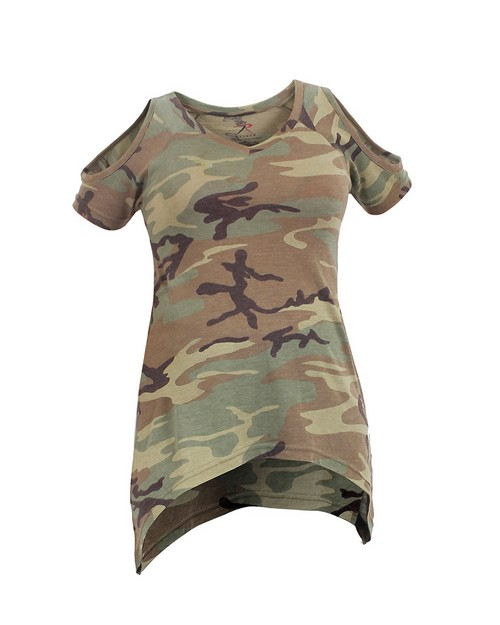 Rothco 4610 Womens Camo Cold Shoulder Top