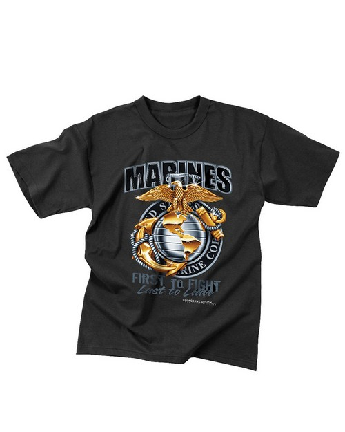 Rothco 80215 Black Ink Marines First To Fight T-Shirt
