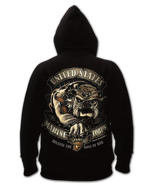 Rothco 80333 Black Ink U.S.M.C. Bulldog Hooded Pullover Sweatshirt