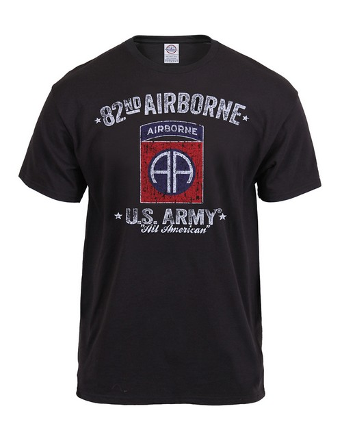 Rothco 80348 Black Ink Distressed 82nd Airborne T-Shirt