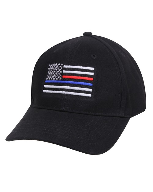 Rothco 8754 Thin Blue Line & Red Line Low Profile Flag Cap