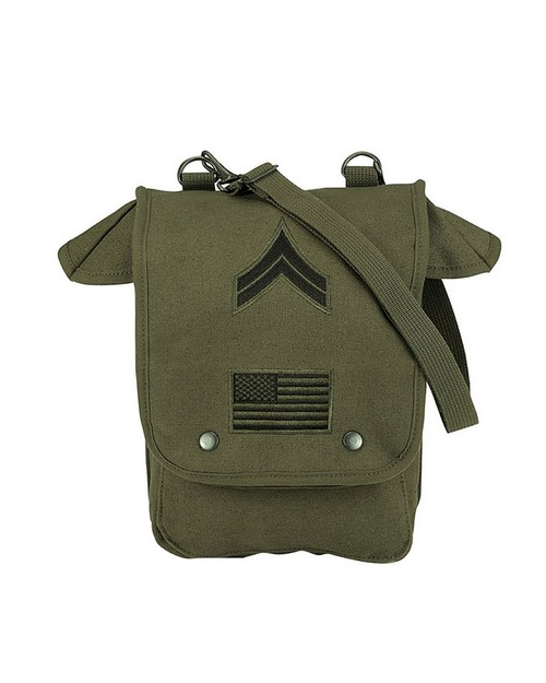 Rothco 8796 Canvas Map Case Shoulder Bag w/ Military Patches