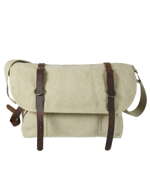 Rothco 9614 Vintage Canvas Explorer Shoulder Bag with Leather Accents