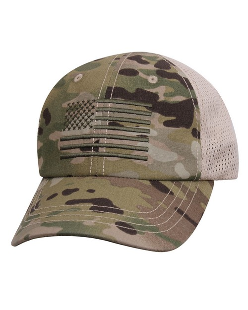 Rothco 9955 Multicam Tactical Mesh Back Cap With Embroidered US Flag