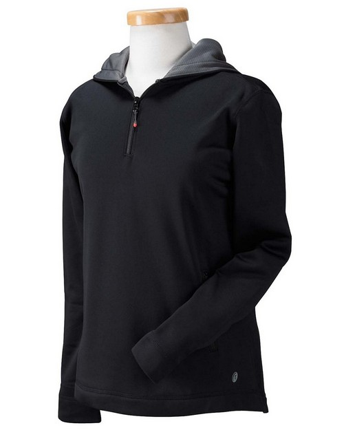 Russell Athletic FS8EFX Ladies Tech Fleece Quarter-Zip Pullover Hood