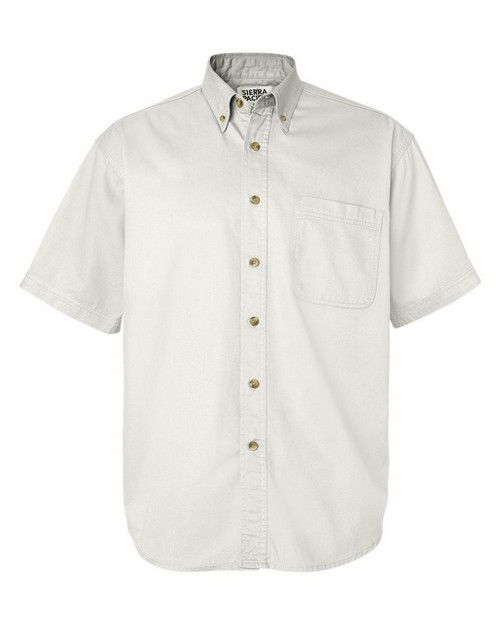 Sierra Pacific 0201 Mens Short Sleeve Washed Cotton Twill Shirt