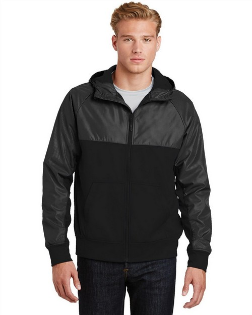 Sport-Tek JST50 Embossed Hybrid Full-Zip Hooded Jacket