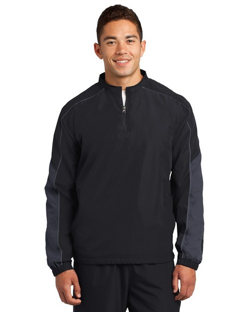 Sport-Tek JST64 Piped Colorblock 1/4-Zip Wind Shirt