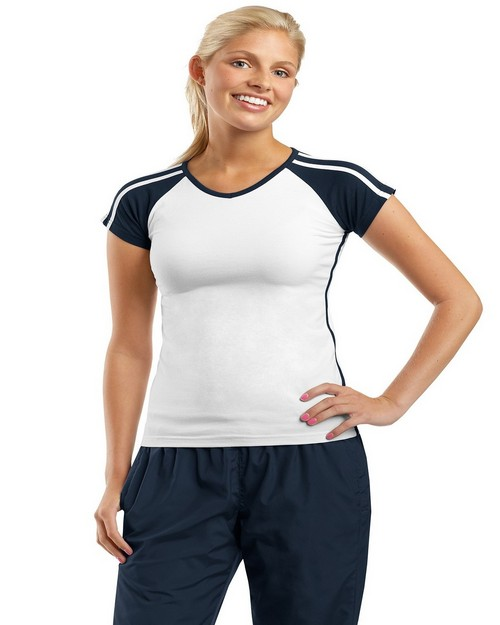 Sport-Tek L205 Ladies V Neck Colorblock T Shirt by Port Authority