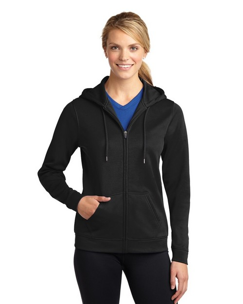 Sport-Tek LST238 Ladies Sport-Wick Fleece Full-Zip Hooded Jacket