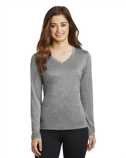 Sport-Tek LST360LS Ladies Long Sleeve Heather Contender V-Neck Tee