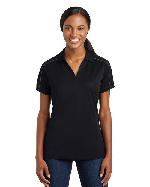 Sport-Tek LST653 Ladies Micropique Sport-Wick Piped Polo Shirt