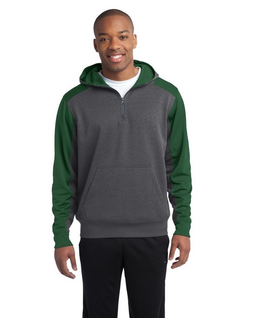 Sport-Tek ST249 Colorblock Tech Fleece 1/4-Zip Hooded Sweatshirt by Port Authority