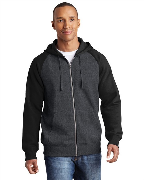 Sport-Tek ST269 Raglan Colorblock Full-Zip Hooded Fleece Jacket