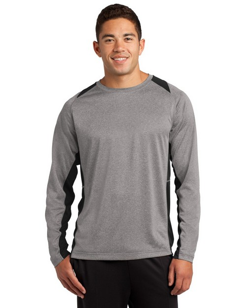 Sport-Tek ST361LS Long Sleeve Heather Colorblock Contender Tee by Port Authority