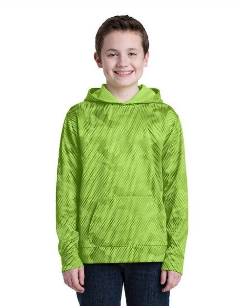 Sport-Tek YST240 Youth Sport-Wick CamoHex Fleece Hooded Pullover