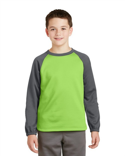 Sport-Tek YST242 Youth Sport-Wick Raglan Colorblock Fleece Crewneck