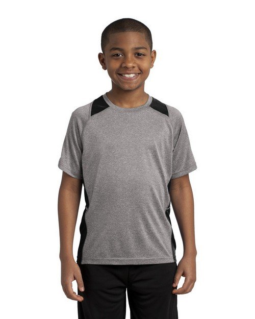 Sport-Tek YST361 Youth Heather Colorblock Contender Tee by Port Authority
