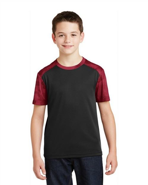 Sport-Tek YST371 Youth CamoHex Colorblock Tee