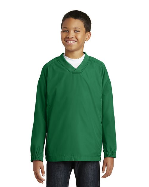 Sport-Tek YST72 Youth V-Neck Raglan Wind Shirt by Port Authority