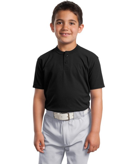 Sport-Tek YT210 Youth Short Sleeve Henley by Port Authority