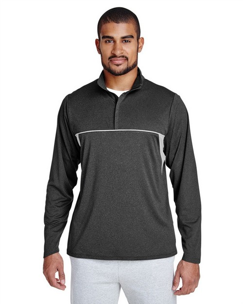 Team 365 TT26 Mens Excel Mélange Interlock Performance Quarter-Zip Top