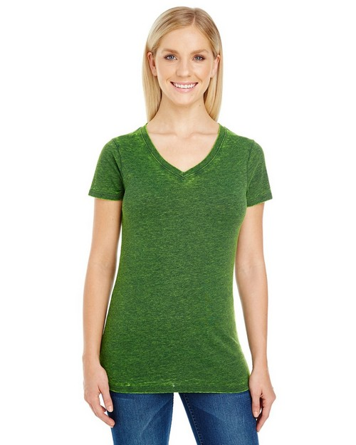 Threadfast Apparel 215B Ladies Cross Dye Short Sleeve V-Neck Tee