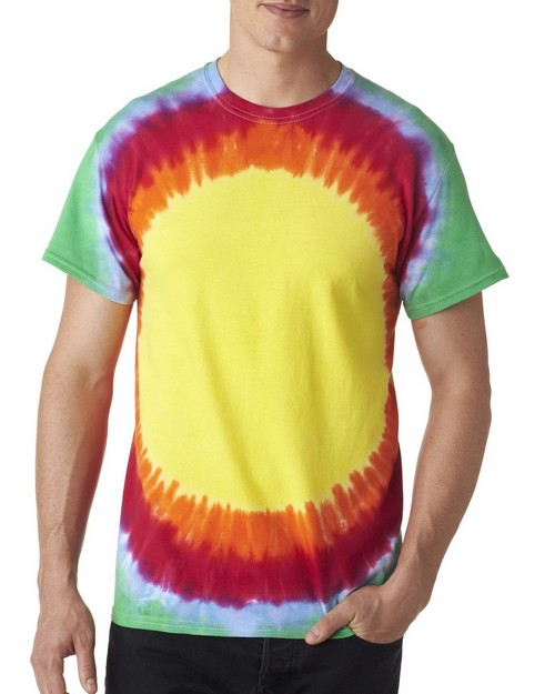 Tie Dye H1140 Adult Flourescent Swirl and Vee Rainbow Cotton Tee
