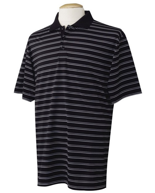Tri-Mountain Performance 124 Poly UltraCool three color stripe golf shirt