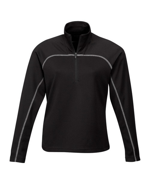 Tri-Mountain Performance 636 Women's 100% Polyester Jaquard UC 1/4 Zip LS Knit Pullover Shirt