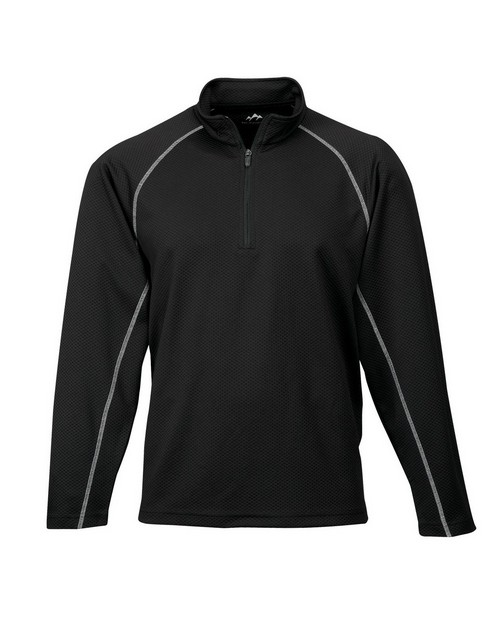 Tri-Mountain Performance 638 Men's 100% Polyester Jaquard UC 1/4 Zip LS Knit Pullover Shirt