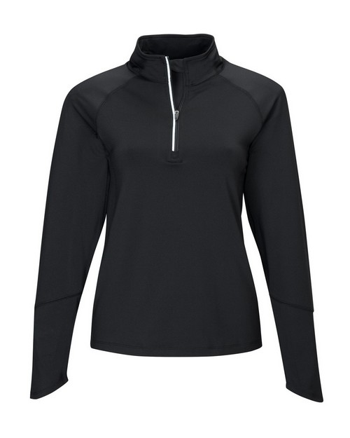 Tri-Mountain Performance 657 Women's 88% Polyester 12% Spandex Knit Quarter Zipper Jogging Pullover