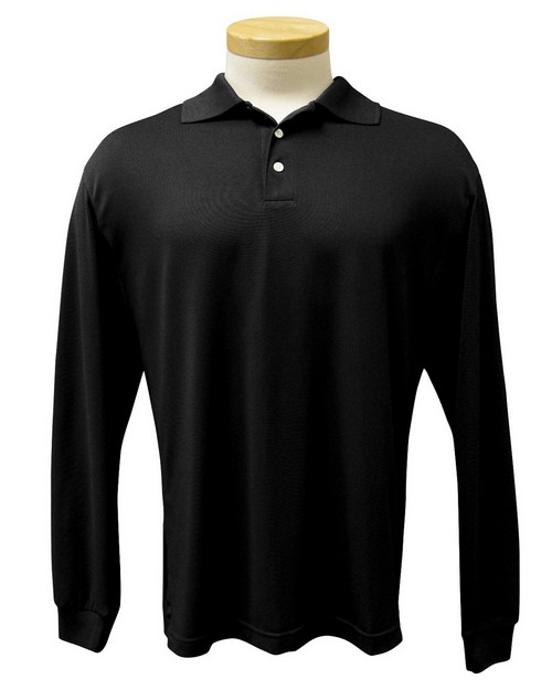 Tri-Mountain Performance 658 Men's Poly UltraCool pique long sleeve golf shirt