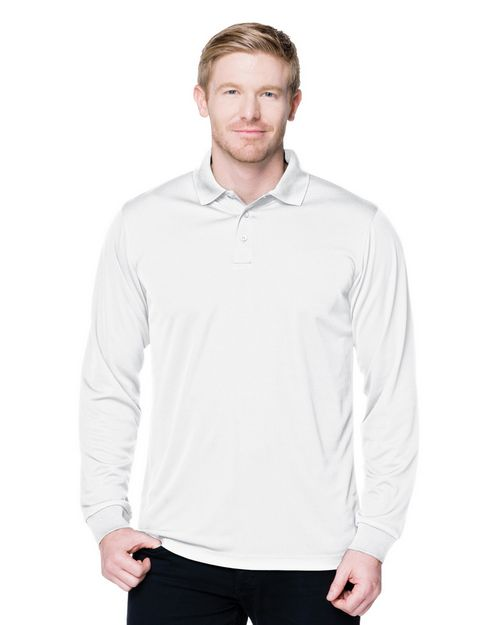 Tri-Mountain Performance K020LS 5 Oz. 100% Polyester Mini-Pique Long Sleeve Polo