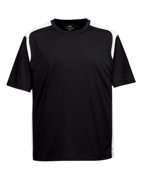 Tri-Mountain Performance K145CN Men's 100% Polyester Crew Neck Knit Shirt W/Contrast pPiecing