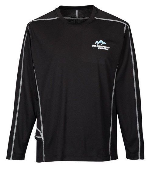 Tri-Mountain Performance K606 Mens Long Sleeve Crew Neck Shirt With Media Pocket