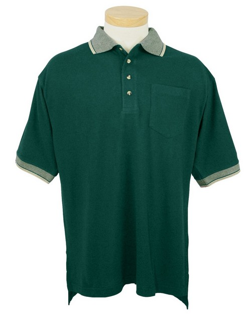 Tri-Mountain 197 Mercury Cotton Pique Pocketed Golf Shirt with Jacquard Trim