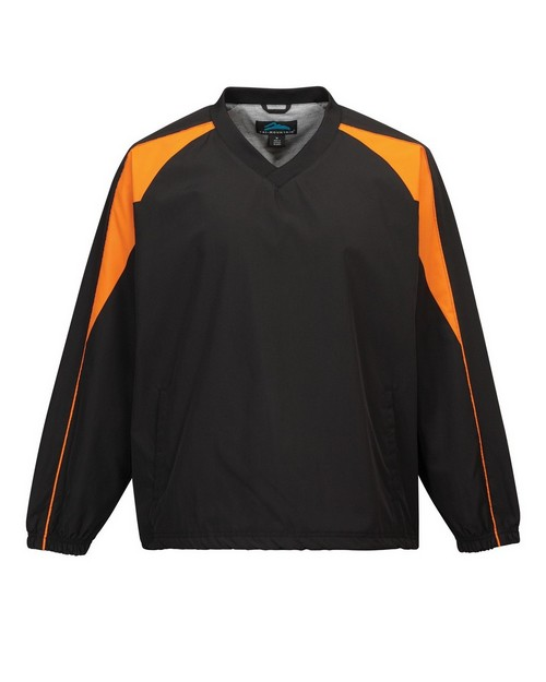Tri-Mountain 2630 Men's v neck long sleeve wind shirt with water resistent