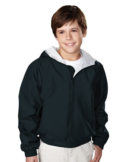 Tri-Mountain 3500 Bay Watch Youth Nylon Hooded Jacket with Jersey Lining