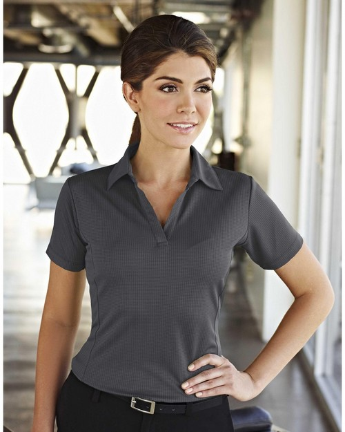 Tri-Mountain Gold 401 Saratoga Polyester Knit Polo Shirt with Grid Pattern and Princess Seam