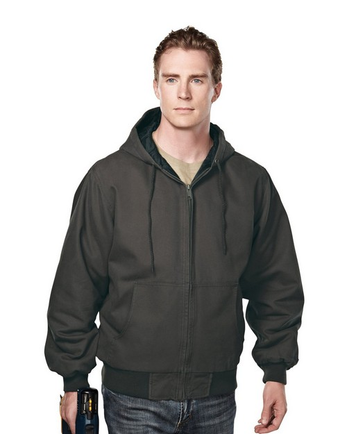 Tri-Mountain 4680 Enzyme Wash Cotton Canvas Hooded Work Jacket with Quilted Lining